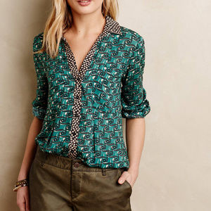 Maeve Anthropologie Blouse Casia Henley Sz 12